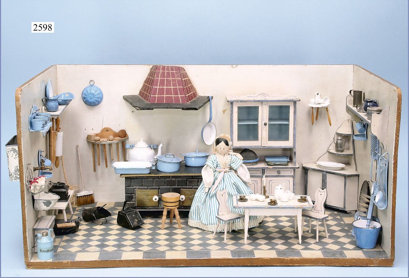 Alte  Borte-1910-Kaufladen-Puppenhaus-Puppenstube-1,50 m-Jugendstil